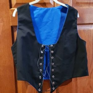 Vest reversible black royal blue handmade costume